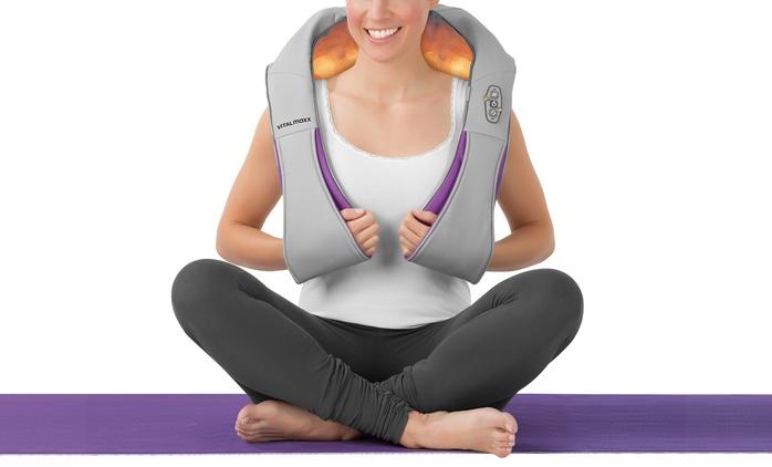 2-teiliges VITALmaxx Shiatsu-Massagegerät für Nacken und Schulter in Grau-Lila (33% sparen*)
