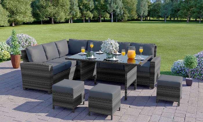 Abreo Nine-Seater PE Rattan Corner Sofa and Dining Set (£599.99)
