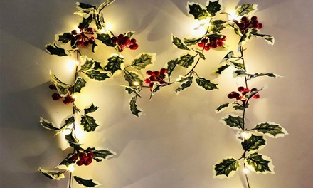 2m 20-LED Christmas Berry Garland String Lights: One Set ($15) or Two Sets ($25)
