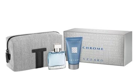 Coffret Azzaro Chrome pour homme avec eau de toilette 30 ml, shampooing 50 ml et trousse, à 32,90 €