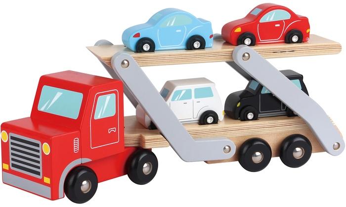 Lelin Six-Piece Wooden Carrier Truck Toy Set