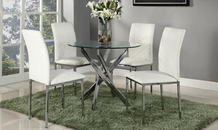 Ensemble salle à manger ronde en verre avec 4 chaises en faux cuir blanches