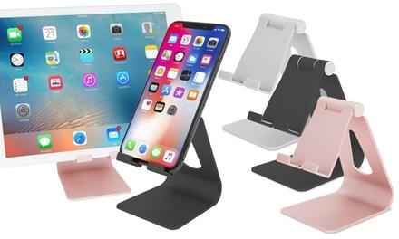 1 o 2 soportes de aluminio ajustables para smartphones y tablets