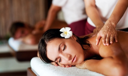 $129 for Aromatherapy Massage, Pedicure, Wine, and Fruit and Cheese Platter for 2 at Rhythm Spa ($240 Value)