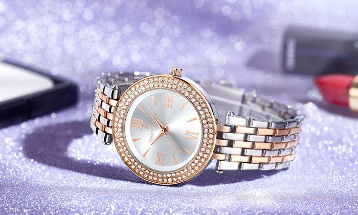 e15f90c7bf1ad Montre cristaux Swarovski® Burst Bicolore | Groupon
