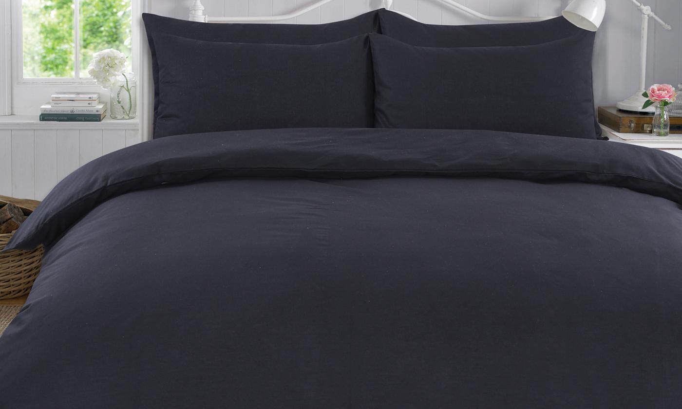 Four-Piece 100% Cotton Block Colour Bed Set
