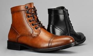 Vincent Cavallo Men's Cap-Toe Dress Boots with Side Zipper