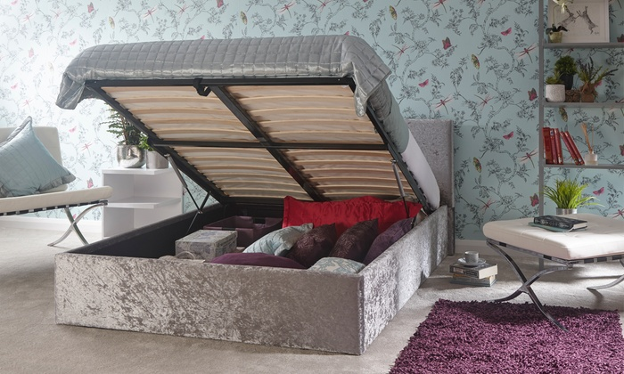 Side-Lift Ottoman Bed in Crushed Velvet with Optional Mattress