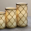 Flame-Less Pillar Candles with Moroccan Holders and Remote (3-Piece)
