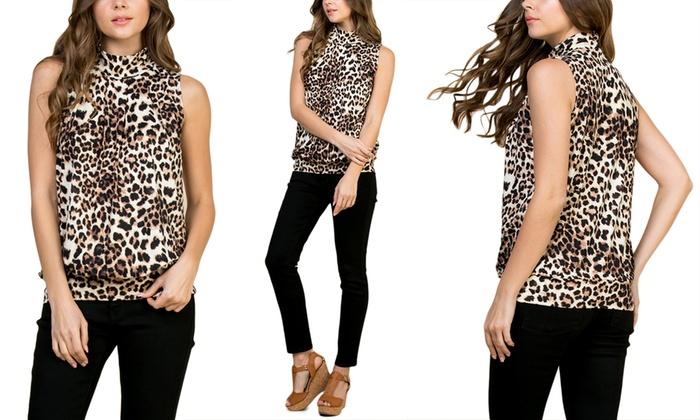 f44daa1c7510 Riah Fashion Print Mock Neck Sleeveless Pleated Top | Groupon