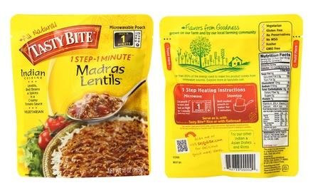 6er- oder 12er-Set indische Madras-Linsen im 285 g Mikrowellenbeutel mit Basmati-Reis
