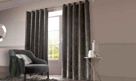 Sienna Embossed Crushed Velvet Lined Curtains
