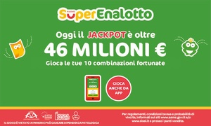 Bonus SuperEnalotto su Sisal.it: 10 combinazioni per SuperEnalotto Online pari a 10€ di bonus su Sisal.it