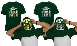 Men's Football Face Print Flip T-Shirt. Extended Sizes Available.