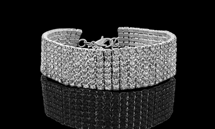 153e8a536 18K White Gold Plated Tennis Bracelet Made with Swarovski Elements