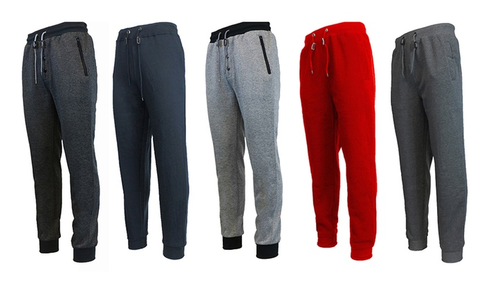 Men's Fleece and French Terry Joggers (3-Pack)
