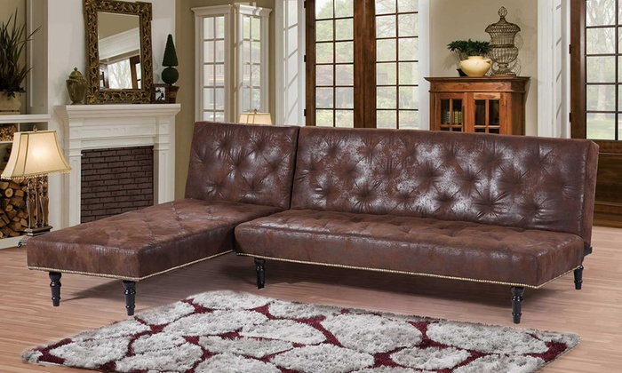 Groupon Goods Global GmbH: Charles Victorian Premium Faux Leather Sofa Bed  Or Chaise Lounge ...