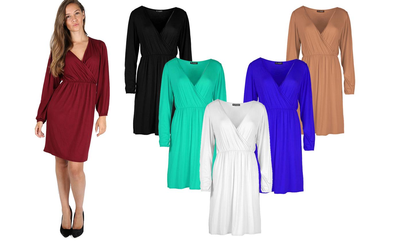 Oops Ruched Cross-Over Swing Flared Dress
