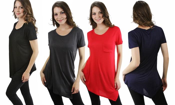 Women's Asymmetrical Short-Sleeve Tunic Top (Plus Sizes): Women's Asymmetrical Longline Short-Sleeve Tunic Top in Plus Sizes