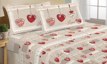 Completo lenzuola San Valentino disponibile in 3 dimensioni e vari fantasie