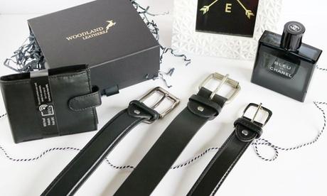 Pack de cinturón y cartera de cuero para hombres