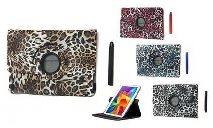 Funda giratoria 360º para iPad con diseño de estampado de leopardo