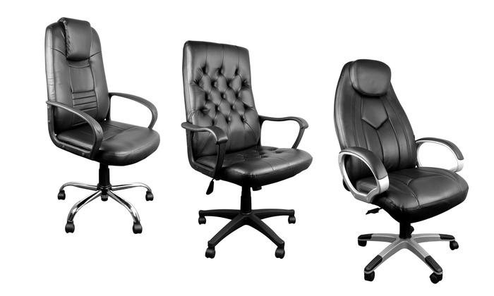 Luxe Leren Bureaustoel.Pu Leren Bureaustoelen Groupon Goods
