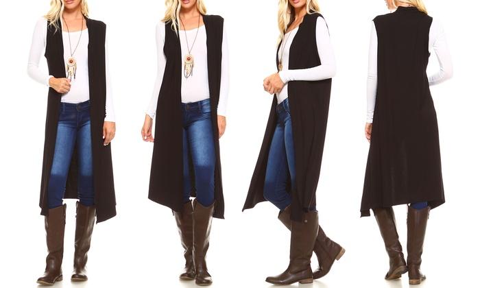 236b16aaba5e4 Isaac Liev Extra Long Sleeveless Cardigan Duster Vest