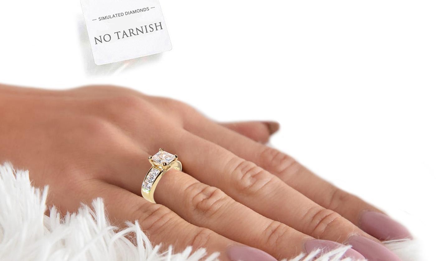 Ah! Jewellery Simulated Diamonds Ring