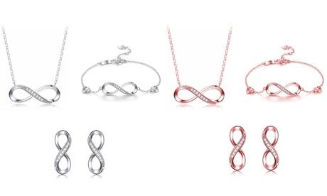 1 o 2 conjuntos de Collar, pulsera y pendientes Infinity decorados con cristales de Swarovski® en dos colores
