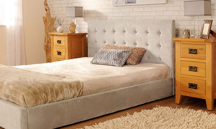 deluxe faux suede bed frame