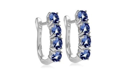 2.00 CTTW Genuine Tanzanite Hoop Earrings in Sterling Silver