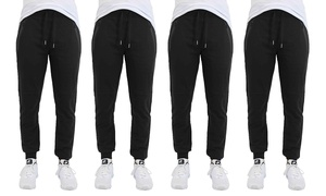 Men's Slim-Fit French Terry Joggers with Tech Zipper Pockets (4-Pack)