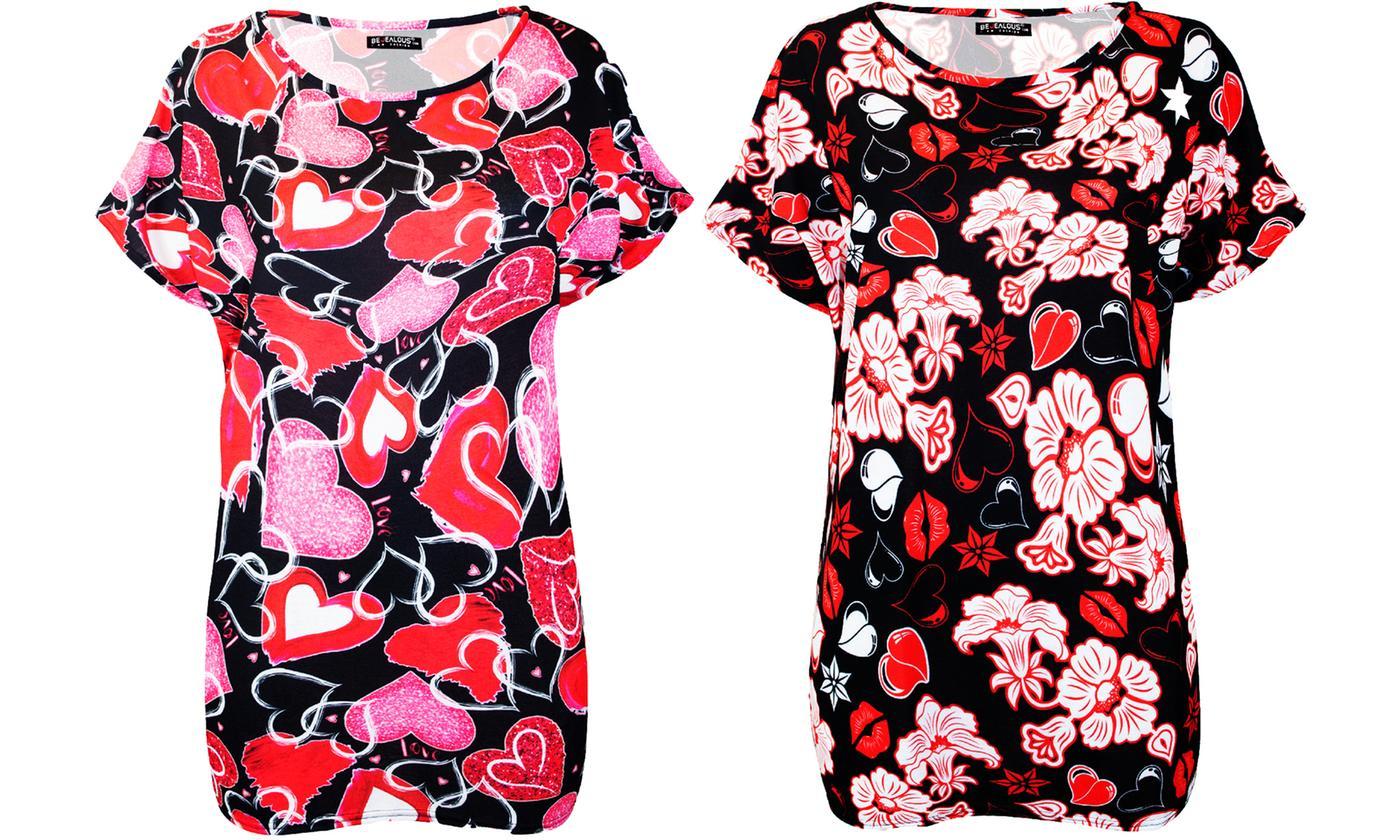 Oops Women's Oversized Love Heart T-Shirt