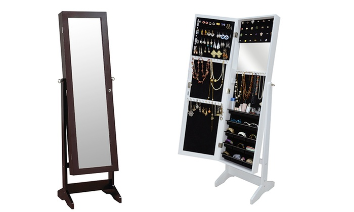Freestanding Mirror And Jewelry Cabinet: Freestanding Mirror And Jewelry  Cabinet