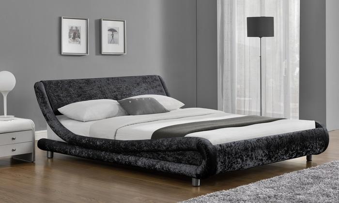Galaxy velvet fabric beds groupon goods for Beds groupon