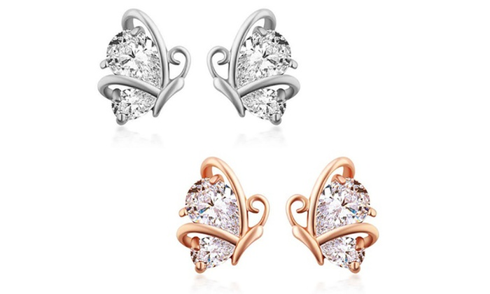 425c6d97b Kids' 18K Gold Plated Crystal Butterfly Stud Earrings by Diane Lo'ren