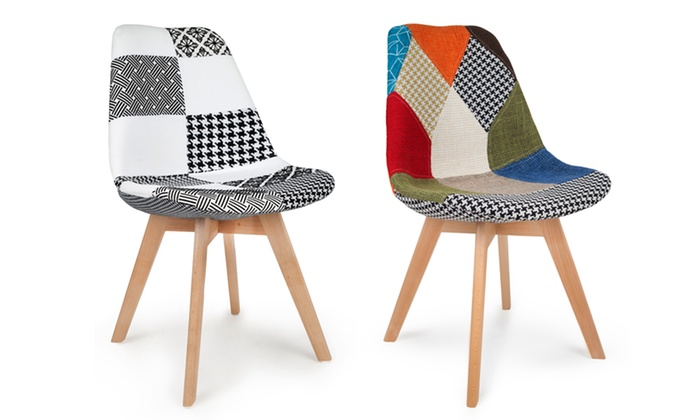 chaises scandinaves patchwork groupon shopping. Black Bedroom Furniture Sets. Home Design Ideas