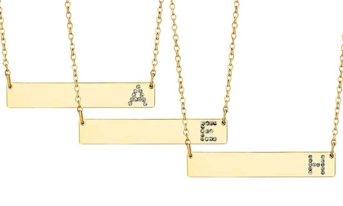 dc4dd7037 Lesa Michele Crystal Initial Bar Necklace in 14K Gold over Stainless Steel
