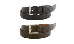 Men's Black and Brown Genuine Leather Belts (2-Pack)