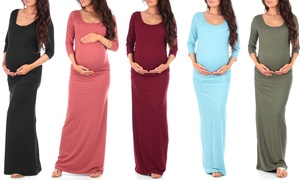 Women's Regular and Plus-Size Ruched Maternity Maxi Dress