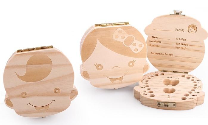 Boîte à dents de lait en bois pour fille ou garçon