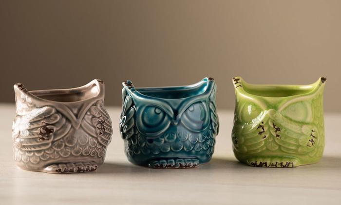 No evil ceramic owl succulent planters set of 3 groupon - Hear no evil owls ceramic ...