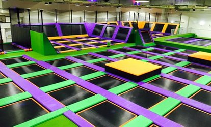 image for One- or Two-Hour Trampoline Park Open Jump Session for One, Two or Four at Jump Arena, Three Locations (Up to 40% Off)