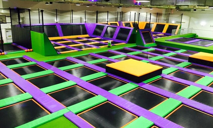 Jump Arena - Multiple Locations: One- or Two-Hour Trampoline Park Open Jump Session for One, Two or Four at Jump Arena, Three Locations (Up to 40% Off)