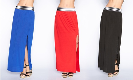 Women's Striped Waistband Maxi Skirts