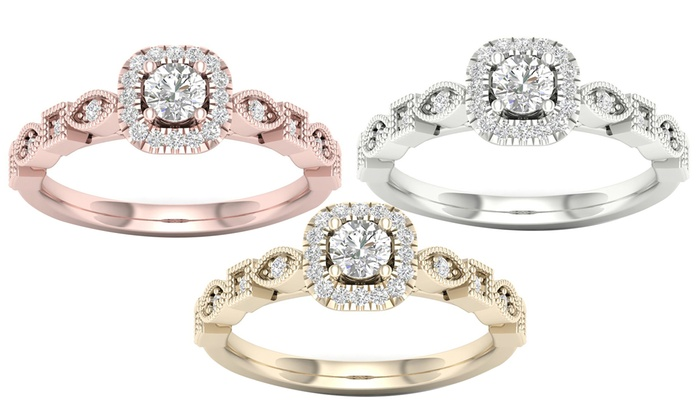 3 8 Cttw Round Diamond Cushion Halo Engagement Ring In 10k Gold By De Couer