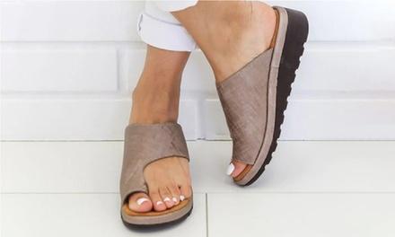 Womens PU Leather Platform Flip Flops