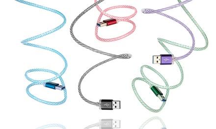 Cable de carga con luz LED Dexler tipo C, USB Lightning y/o Micro USB