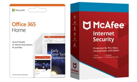 Pack Office 365 Personal o Home y 1 o 3 dispositivos McAfee Internet Security (envío gratuito)